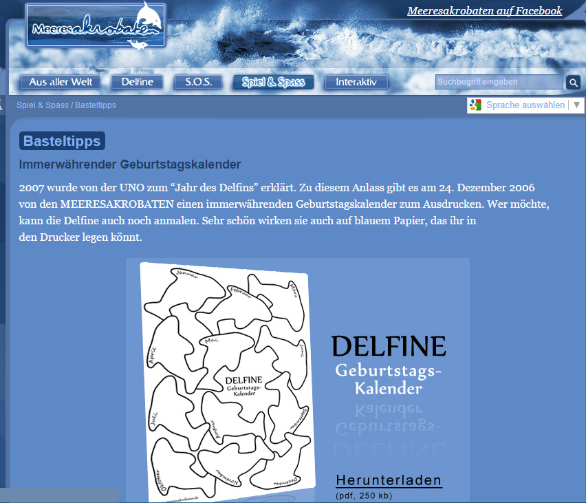 ein kostenloses arbeitsblatt zum thema delfine auf. Black Bedroom Furniture Sets. Home Design Ideas